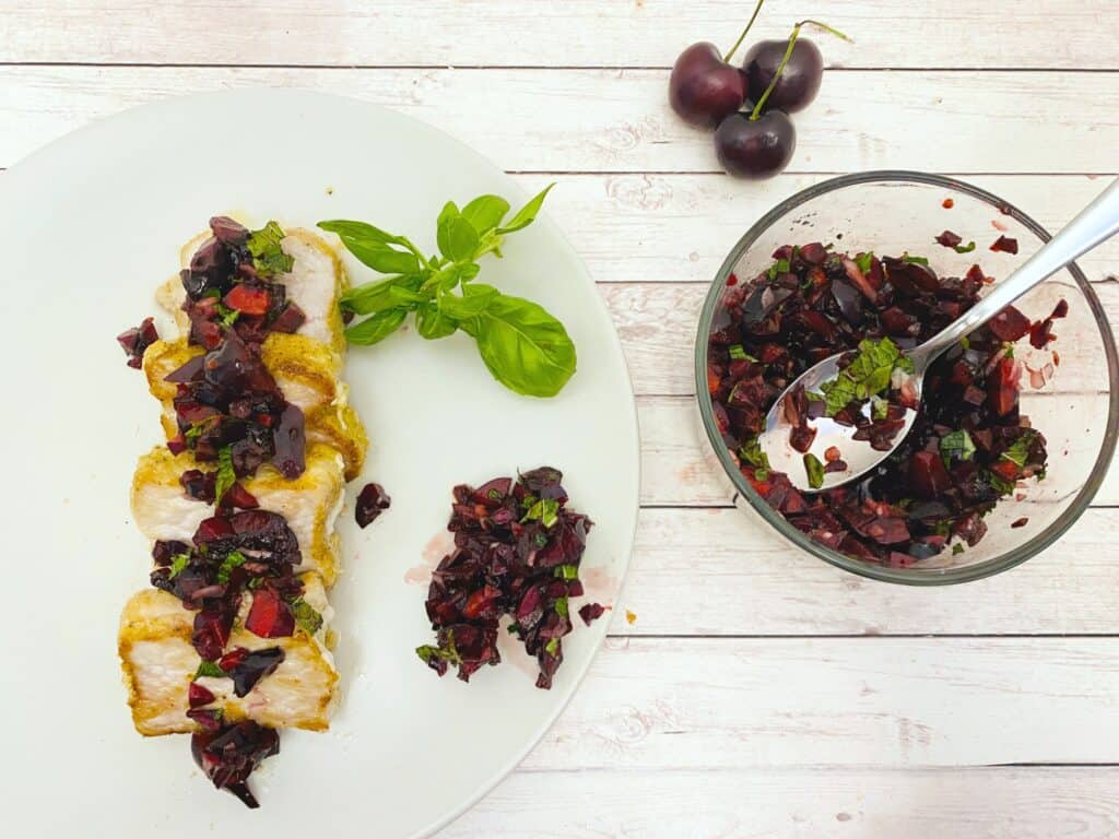 pan-seared pork tenderloin topped with fresh cherry-basil-mint salsa