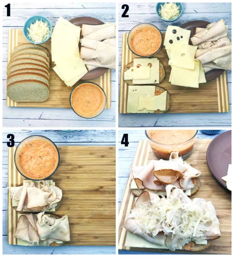 process shots for turkey reuben sandwich