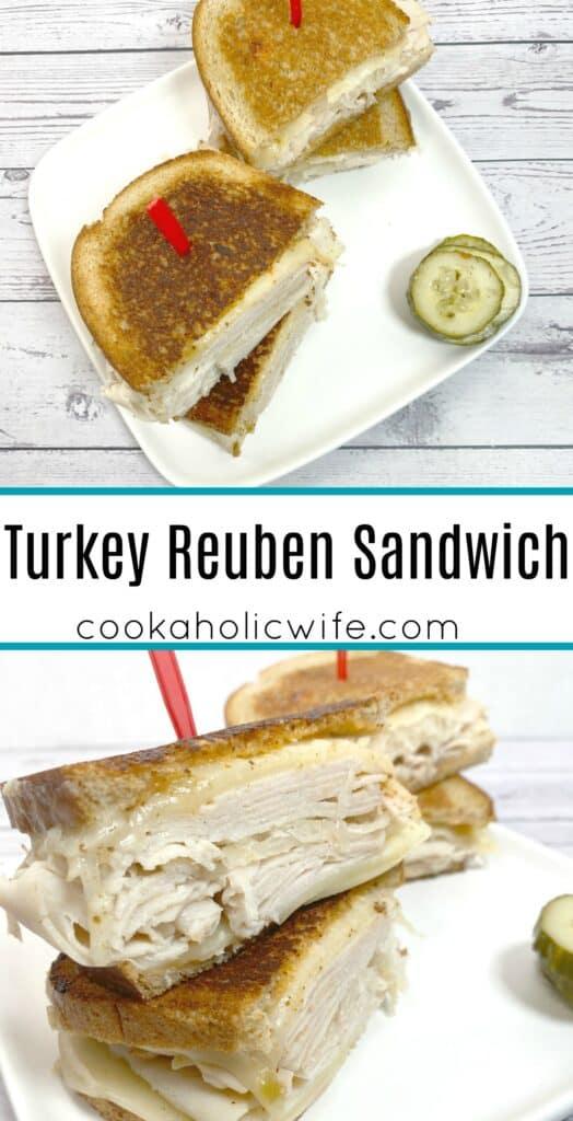 grilled turkey reuben sandwich on white plate with white wooden background
