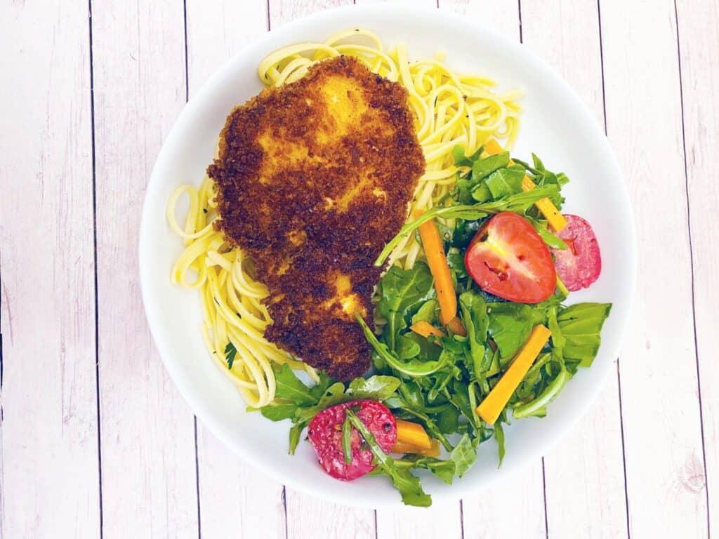 crispy chicken cutlets pasta arugula