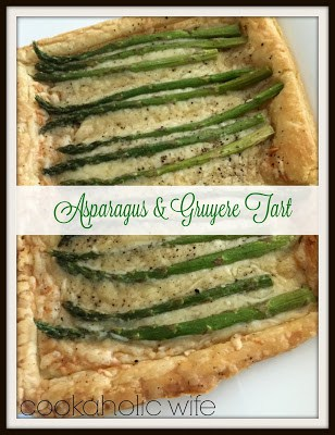 asparagus spears on top of melted gruyere cheese baked on puff pastry sheet