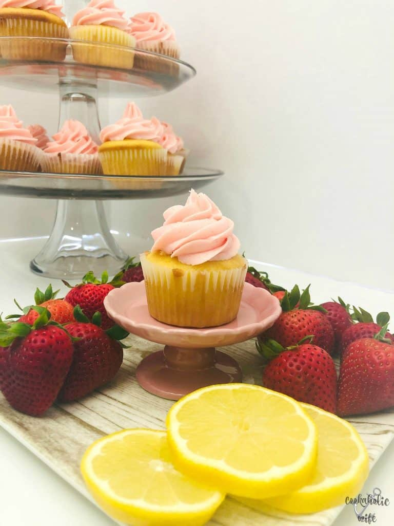 strawberry lemonade cupcakes filled with lemon buttercream
