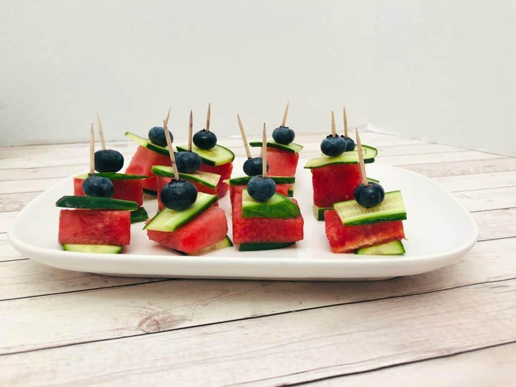 watermelon cucumber bites