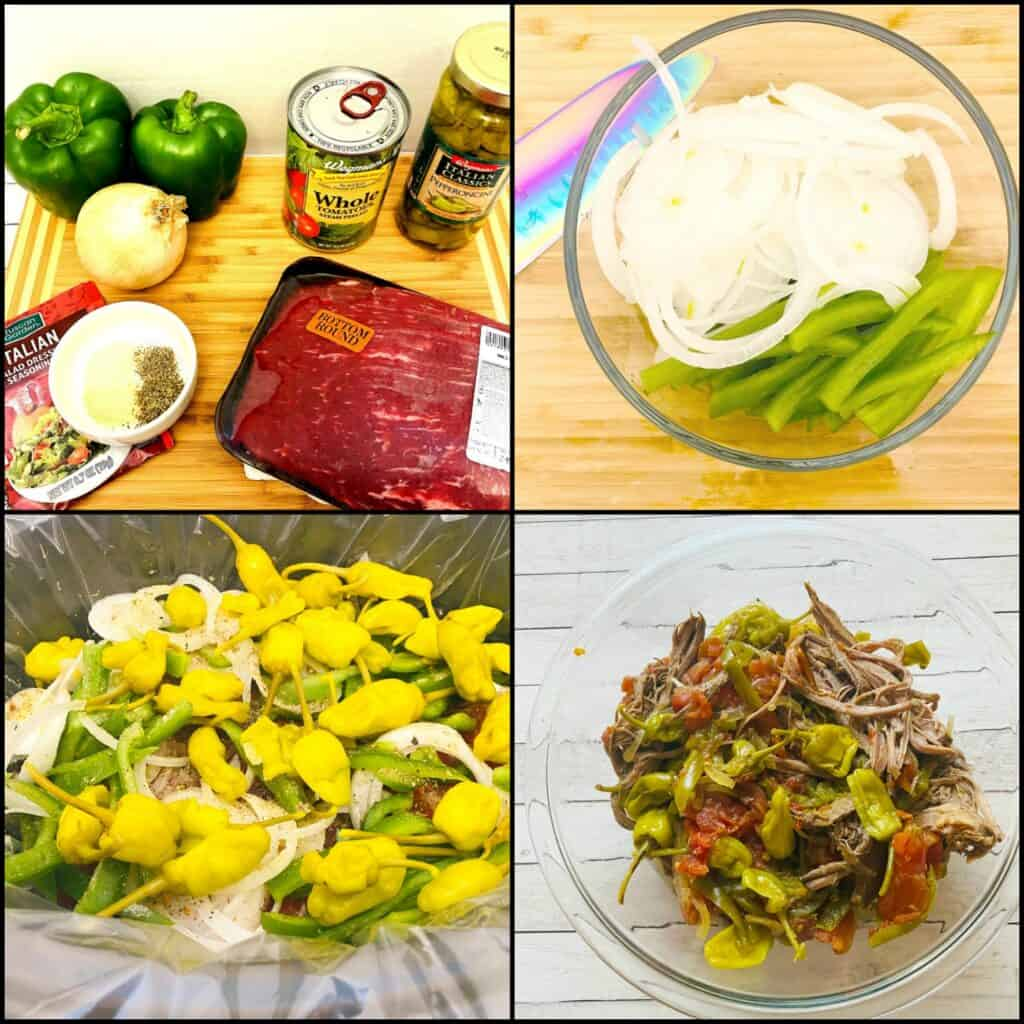 ingredients to make italian beef sandwiches in the crock pot