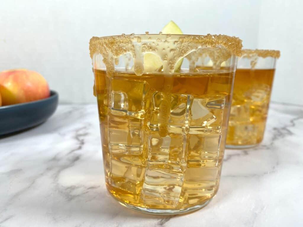 caramel apple whiskey sour cocktail