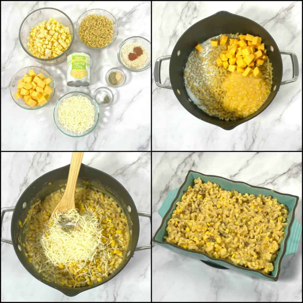 step by step ingredient shots of how to make corn macaroni and cheese casserole