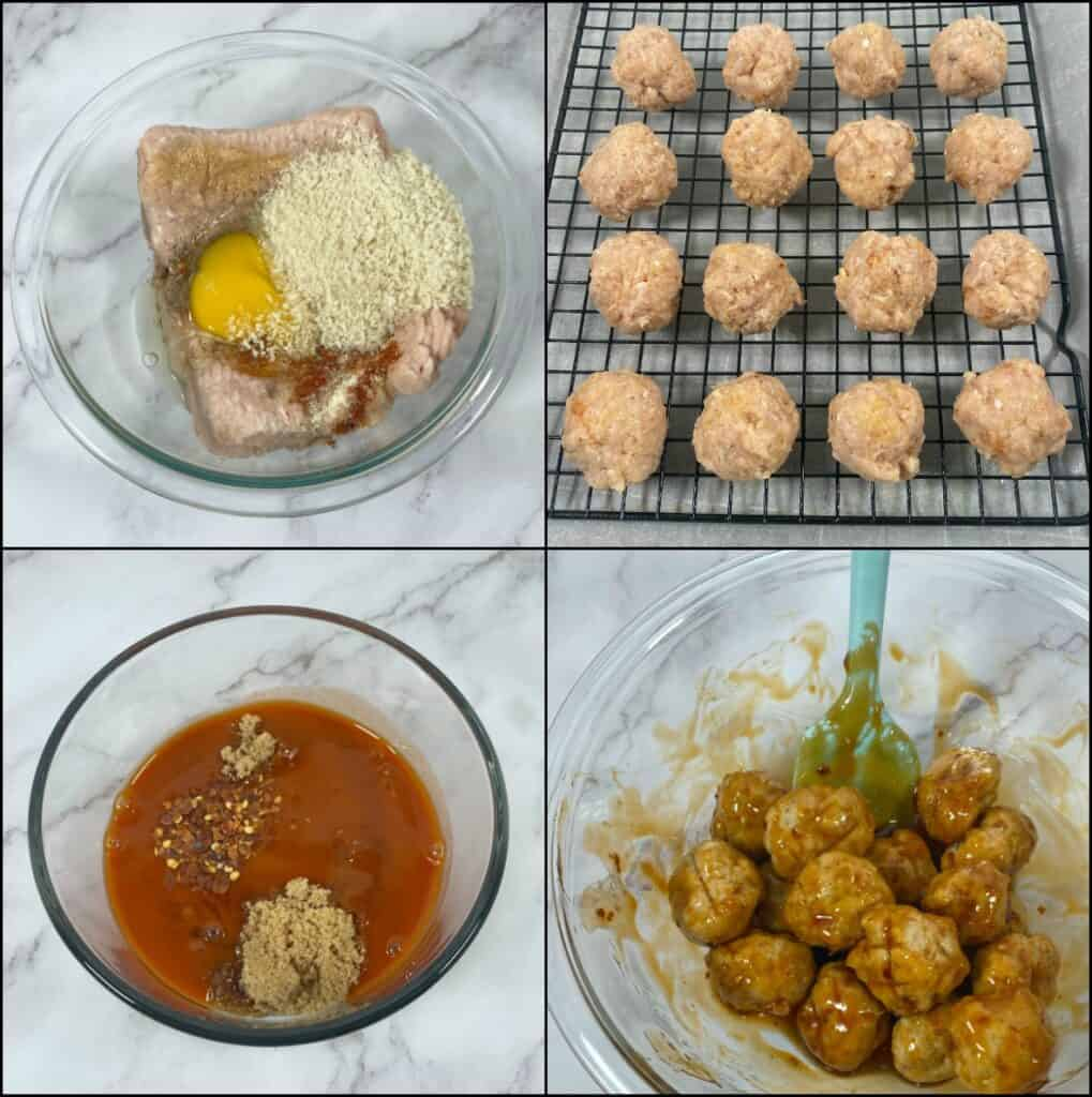 four step by step images of how to make firecracker chicken meatballs