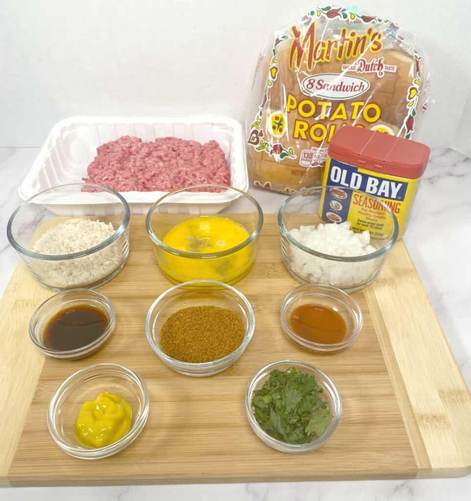 ingredients to make an old bay burger
