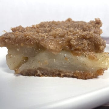 pear brown betty slice on white plate