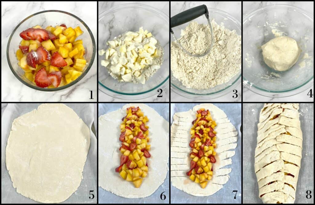 step by step visual instructions of how to make peach and strawberry breakfast braid
