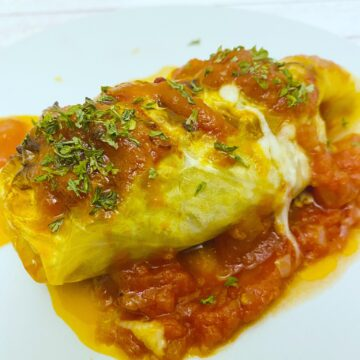 stuffed cabbage roll on white plate, tomato sauce underneath, sprinkling of parsley on top