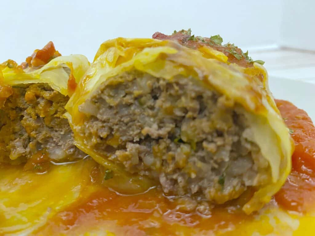 polish stuffed cabbage roll sliced in half to see filling