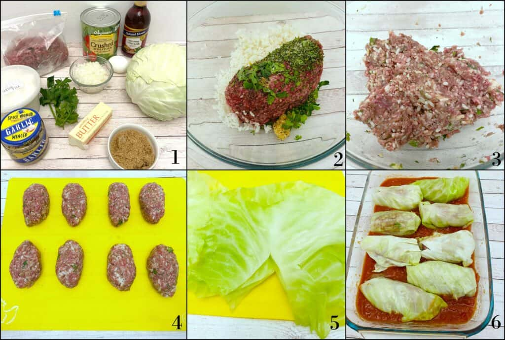 step by step ingredients and directions for how to make stuffed cabbage rolls