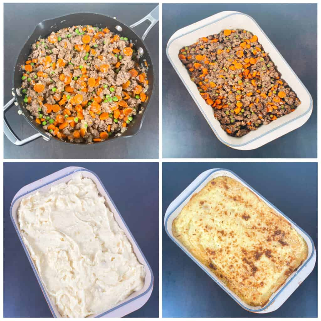 Step by step images of how to prepare traditional shepherd's pie. 1. Cooked meat and veggies in saucepan. 2. Cooked meat and veggies in casserole dish. 3. Casserole dish topped with cheesy mashed potatoes. 4. Casserole dish, baked, with golden brown cheesy mashed potatoes.