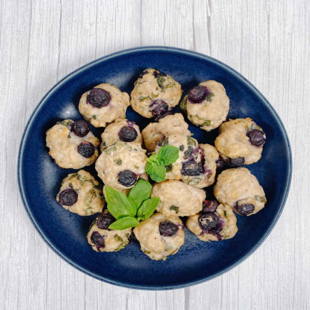 Bowl of blueberry chicken meatballs