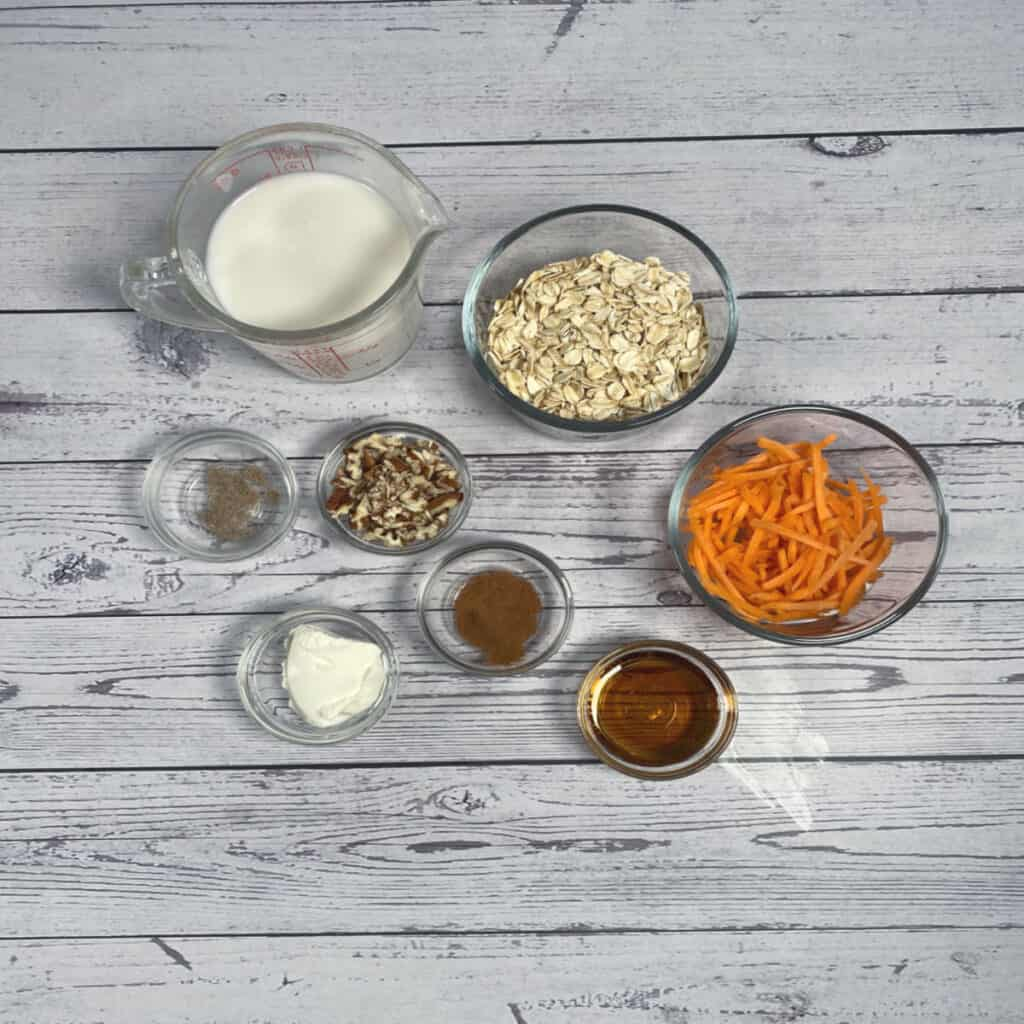 ingredients for carrot cake overnight oats
