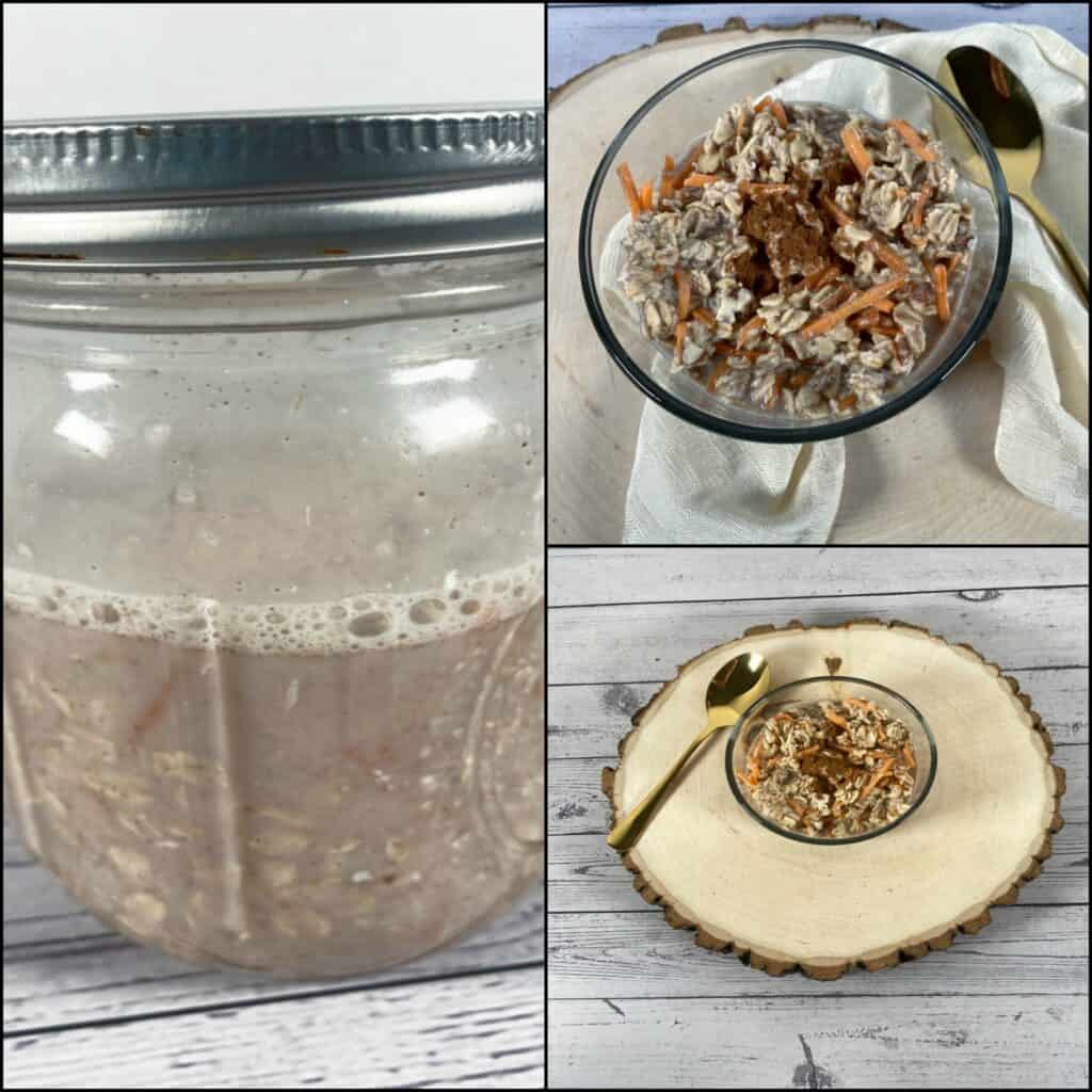 collage of carrot cake overnight oats. First picture is mixed ingredients in a mason jar. Top right image is the oats in a glass bowl with a gold spoon and ivory napkin. Bottom right is oats in a glass bowl on top of a wooden log.