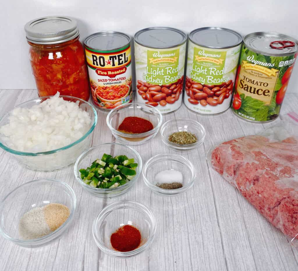 ingredients for crock pot beef and bean chili