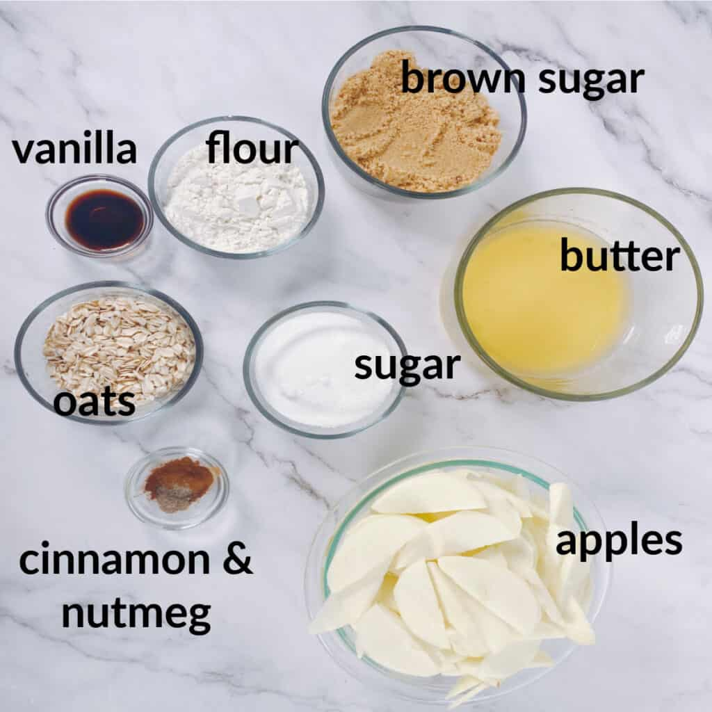 ingredients for old fashioned apple crisp - peeled and sliced apples, melted butter, flour, sugar, brown sugar, oats, vanilla, cinnamon and nutmeg
