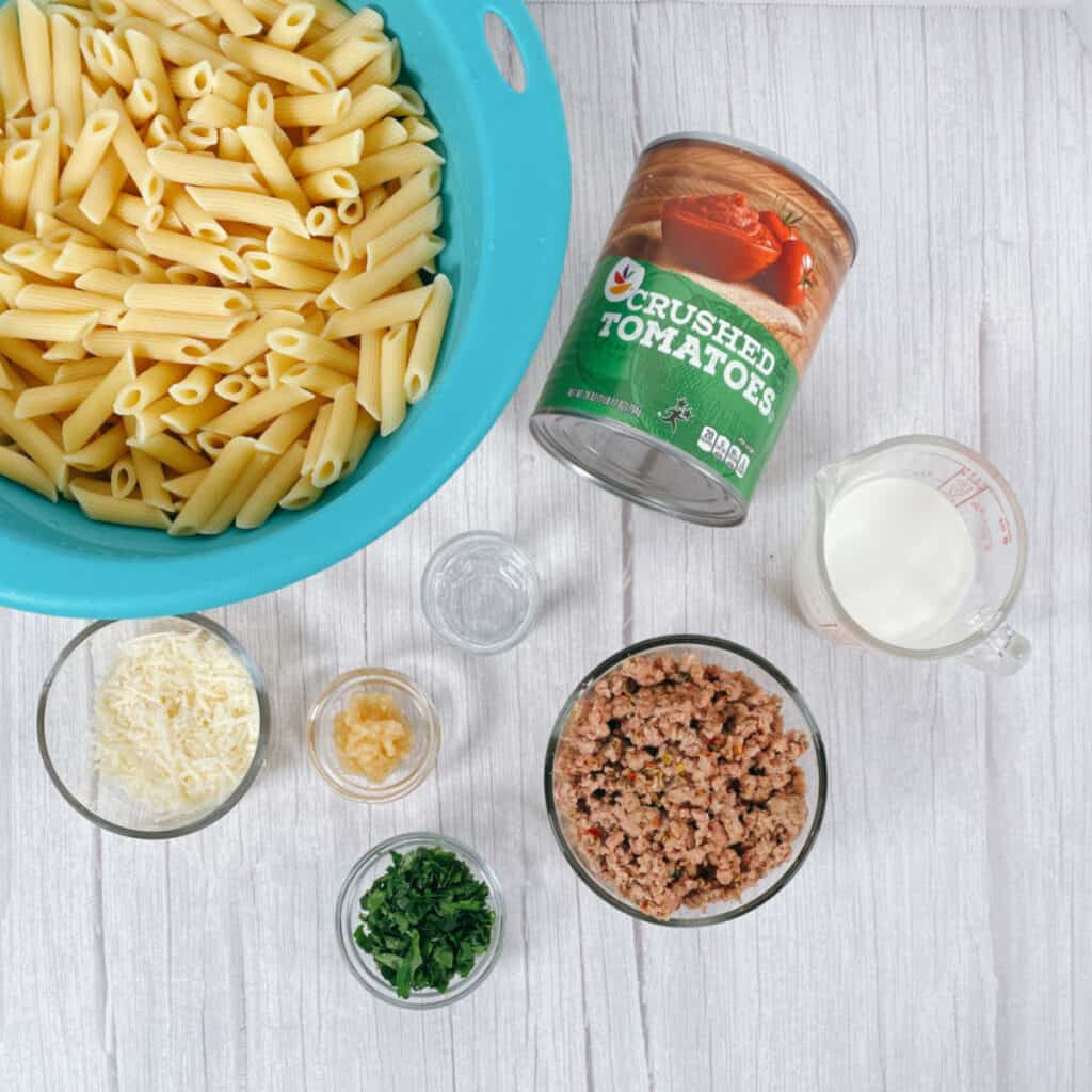 ingredients for penne with vodka sauce. Penne pasta, italian sausage, crushed tomatoes, garlic, vodka, heavy cream, basil, parmesan cheese