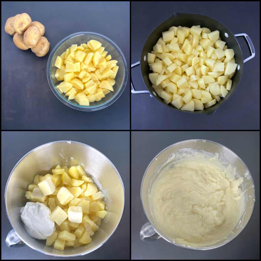 step by step instructions for making creamy mashed potatoes