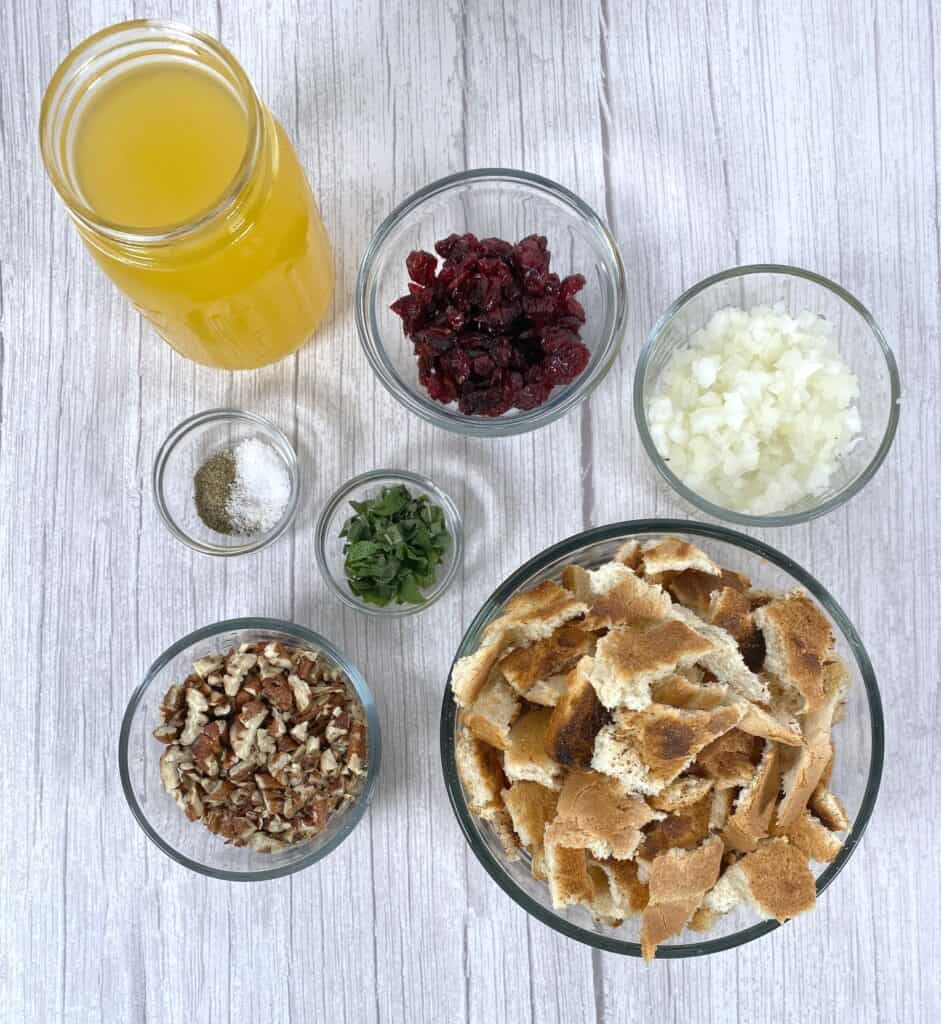 ingredients for cranberry pecan stuffing