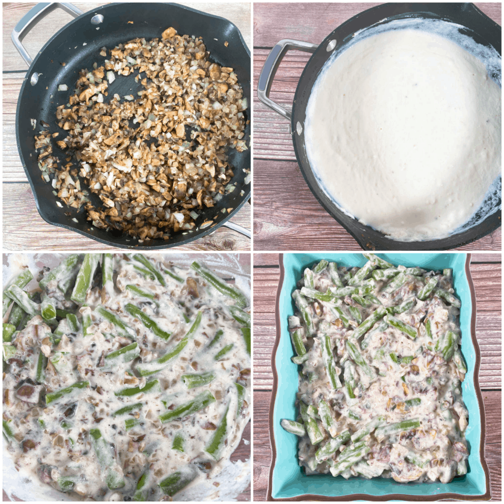 step by step instructions for making green bean casserole
