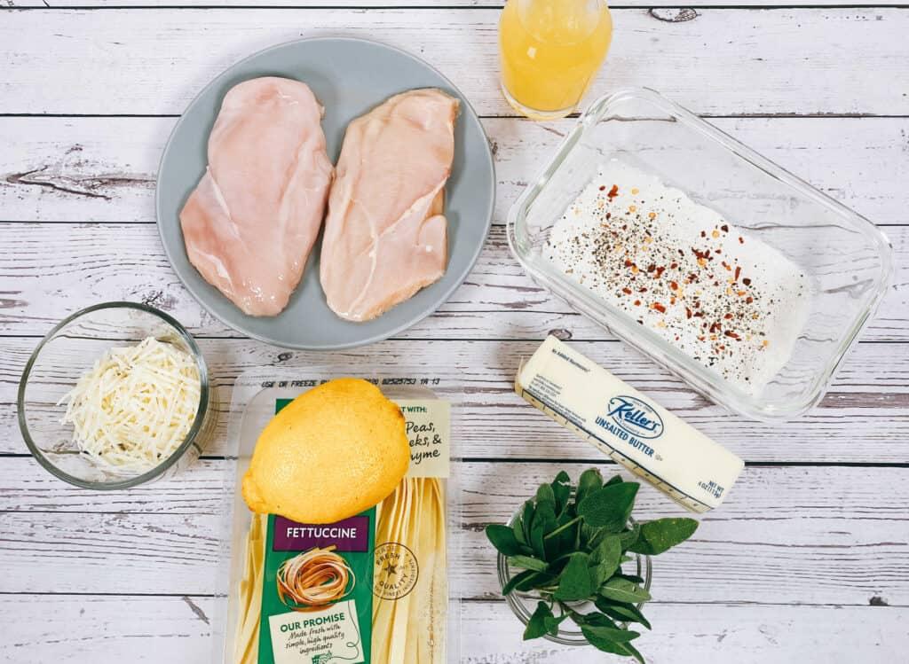 ingredients for sage butter chicken pasta