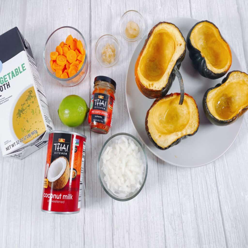 ingredients for thai acorn squash soup