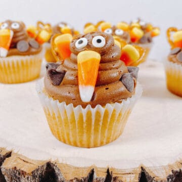 vanilla cupcake with chocolate frosting is decorated to look like a turkey using pretzels, candy corn and candy eyes.