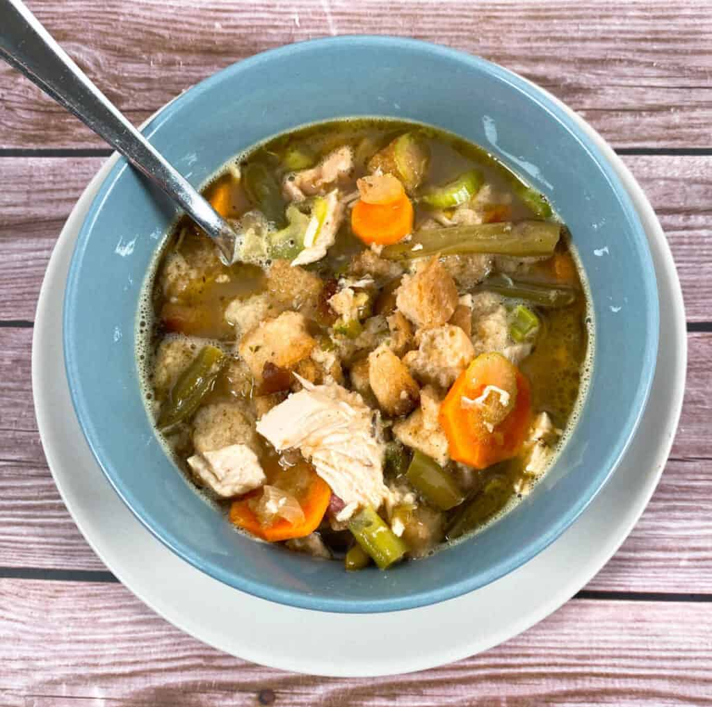 Bowl of leftover turkey dumpling soup – featuring thanksgiving leftovers