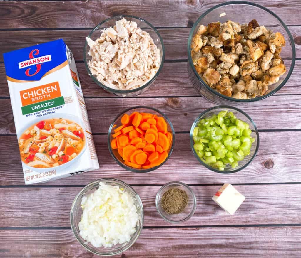 Ingredients for leftover turkey dumpling soup