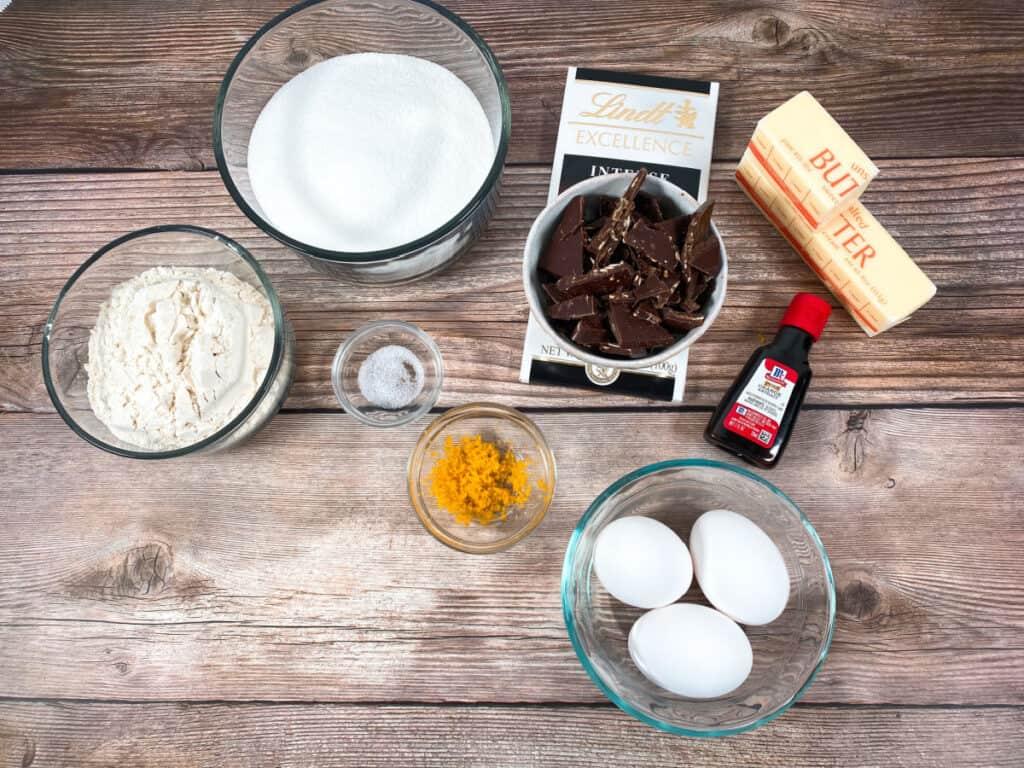 ingredients for almond orange brownies