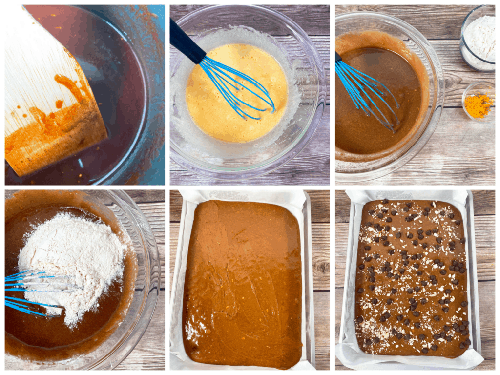 step by step instructions for making almond orange brownies. 1. Melt butter and chocolate. 2. Whisk egg and sugar together. 3. Slowly add chocolate to egg and sugar mixture. 4. Whisk in flour, orange zest and salt. 5. Spread into baking pan. 6. Top with chocolate chips and slivered almonds. Bake ar 350 for 25-30 minutes, then let cool before slicing.