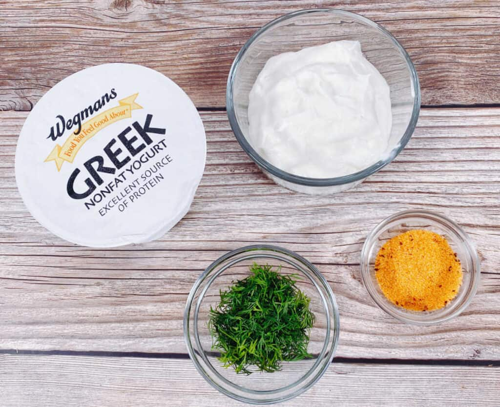 ingredients for lighter veggie dip