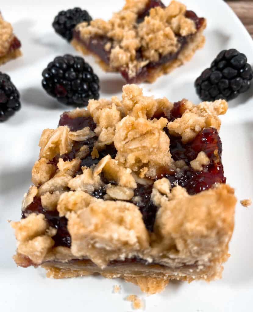 blackberry oat crumble bars with fresh blackberries around them