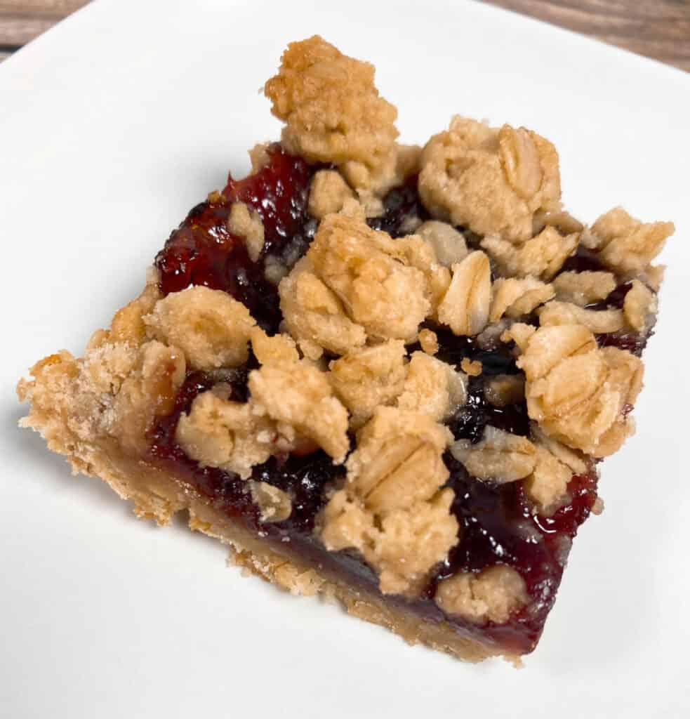 top view image of a blackberry oat crumble bar