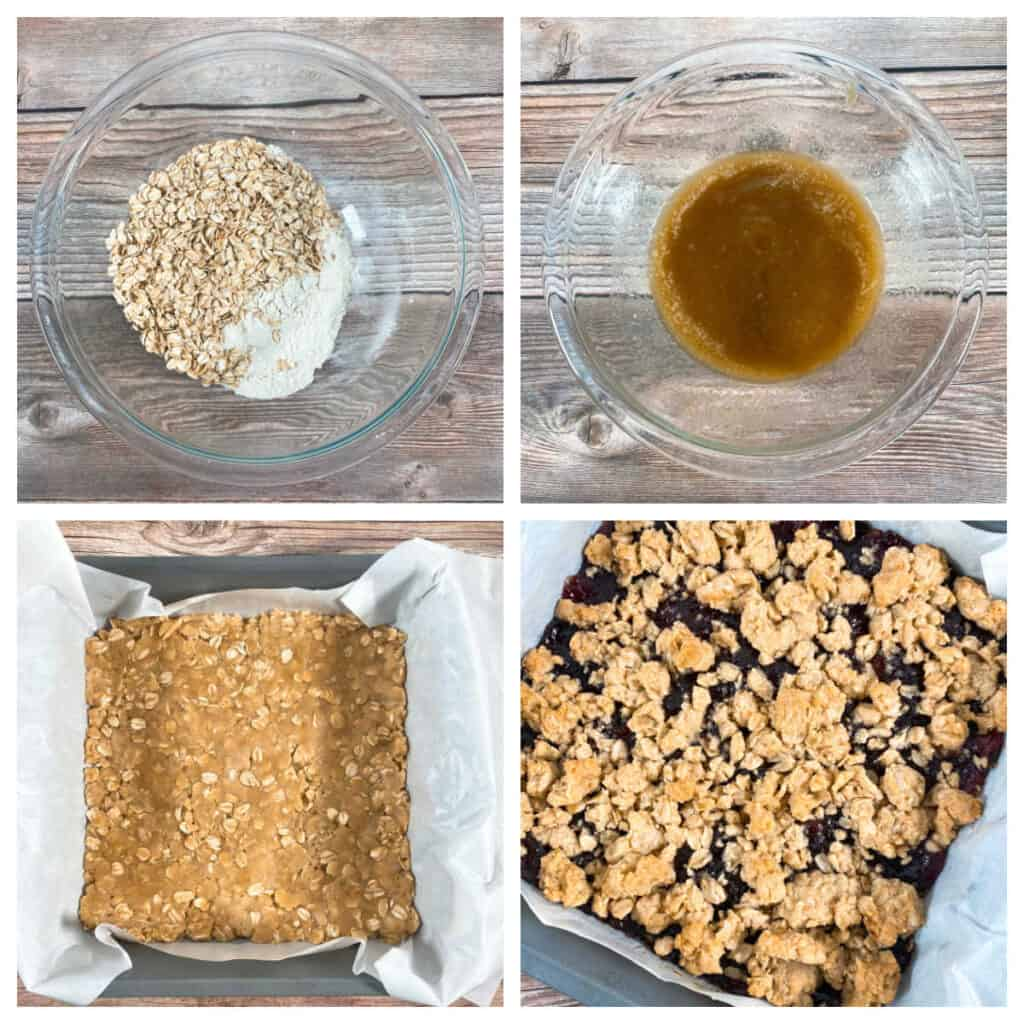 Four images of step by step instructions for making the bars. 1. Combine flour, oatmeal and salt. 2. Melt butter and add both sugars and vanilla. 3. Mix wet and dry together and press ¾ of the mixture into a pan. 4. Spread the blackberry preserves on top and then add the remaining ¼ cup of crumble mixture.