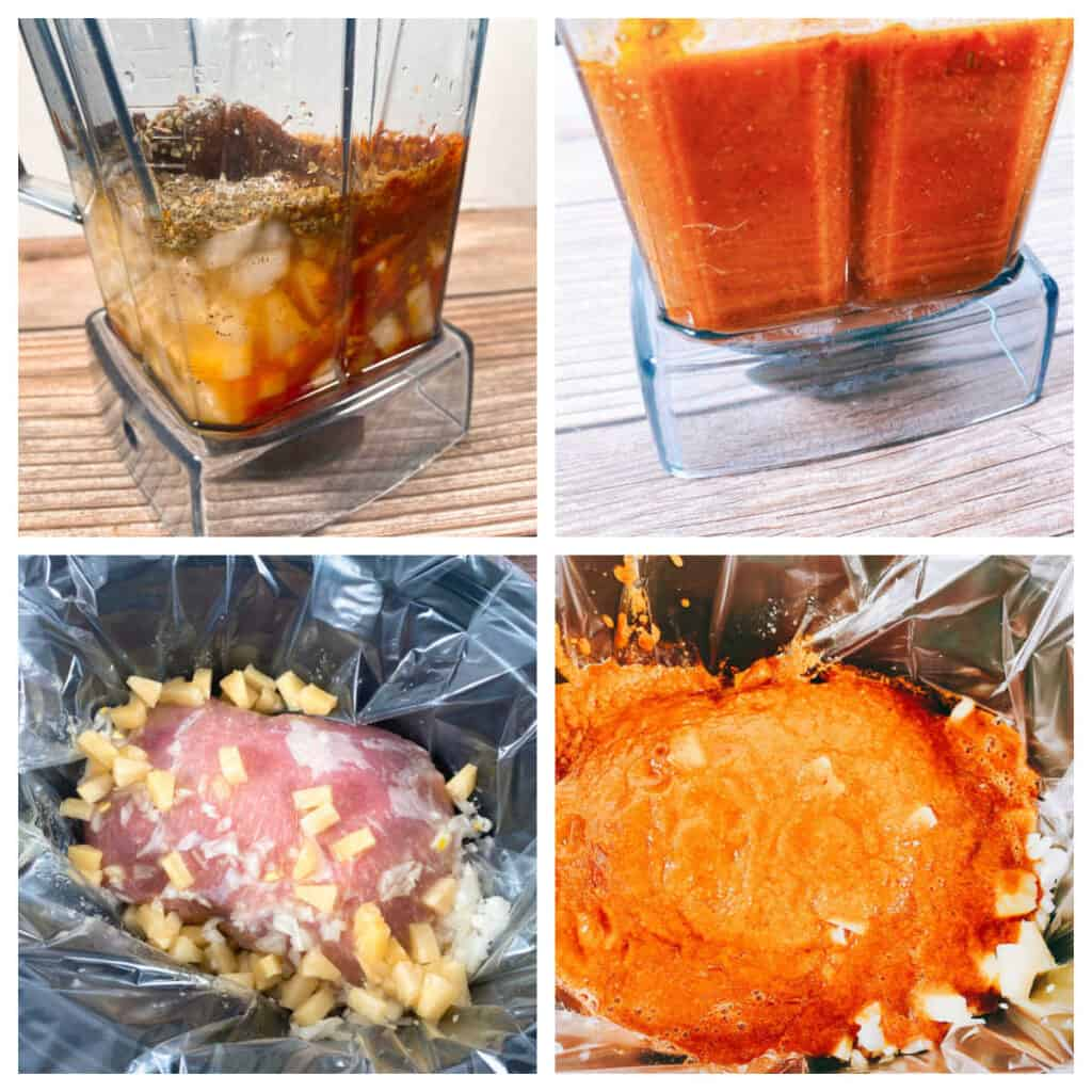 Step by step ingredients for preparing tacos al pastor.  Top Left: sauce ingredients in a blender. Top right: ingredients in blended up in the blender. Bottom left: Pork, onion and pineapple in a slow cooker. Bottom right: sauce poured over pork in the slow cooker.