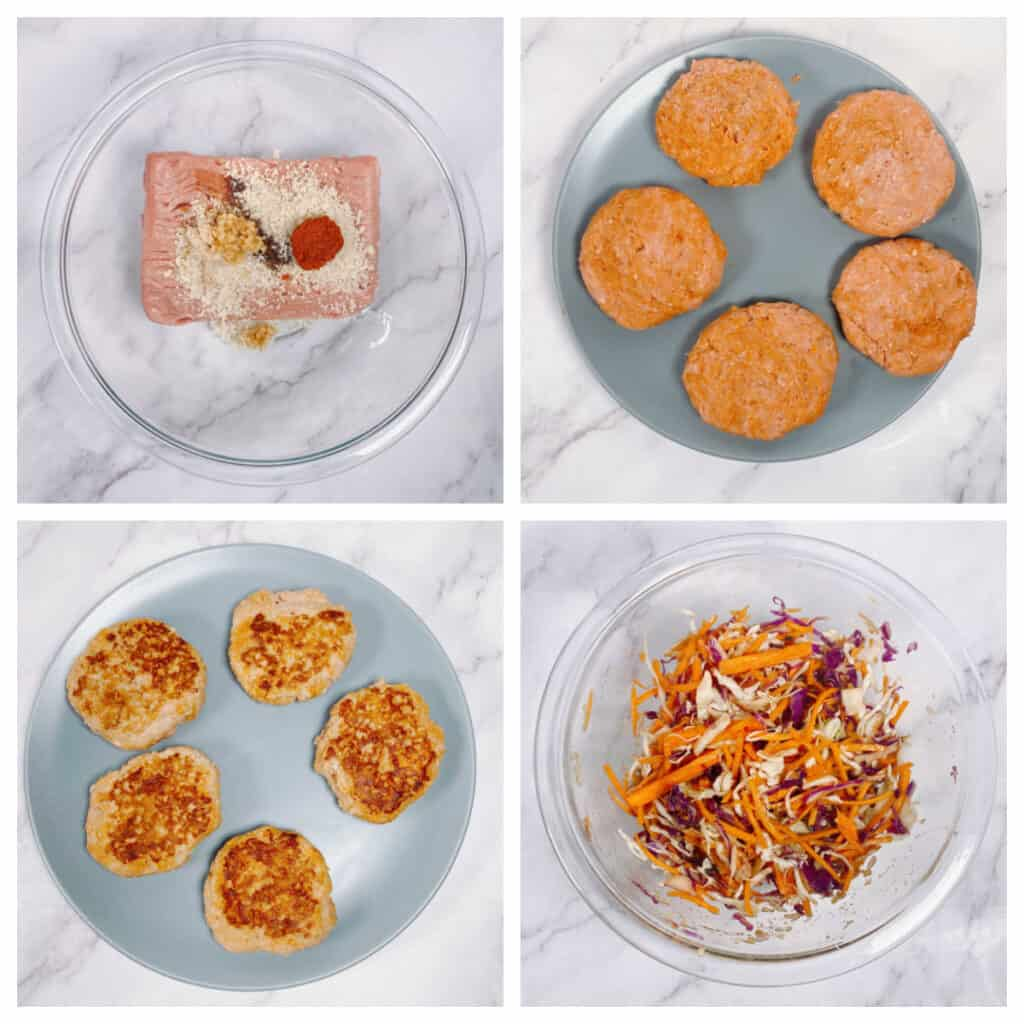 Step by Step instructions for Thai Turkey burgers in 4 photos. Top left: combine ingredients for burgers in a large bowl. Top Right: form into 5 patties. Bottom Left: grill burgers until cooked through. Bottom Right: Combine ingredients for slaw in a large bowl.