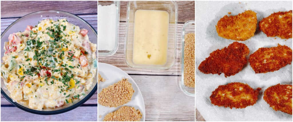 Three image collage of the steps for making the sandwich. Image one is the corn relish. Image two is the batter to put on the pork and image three is the fried pieces of pork.