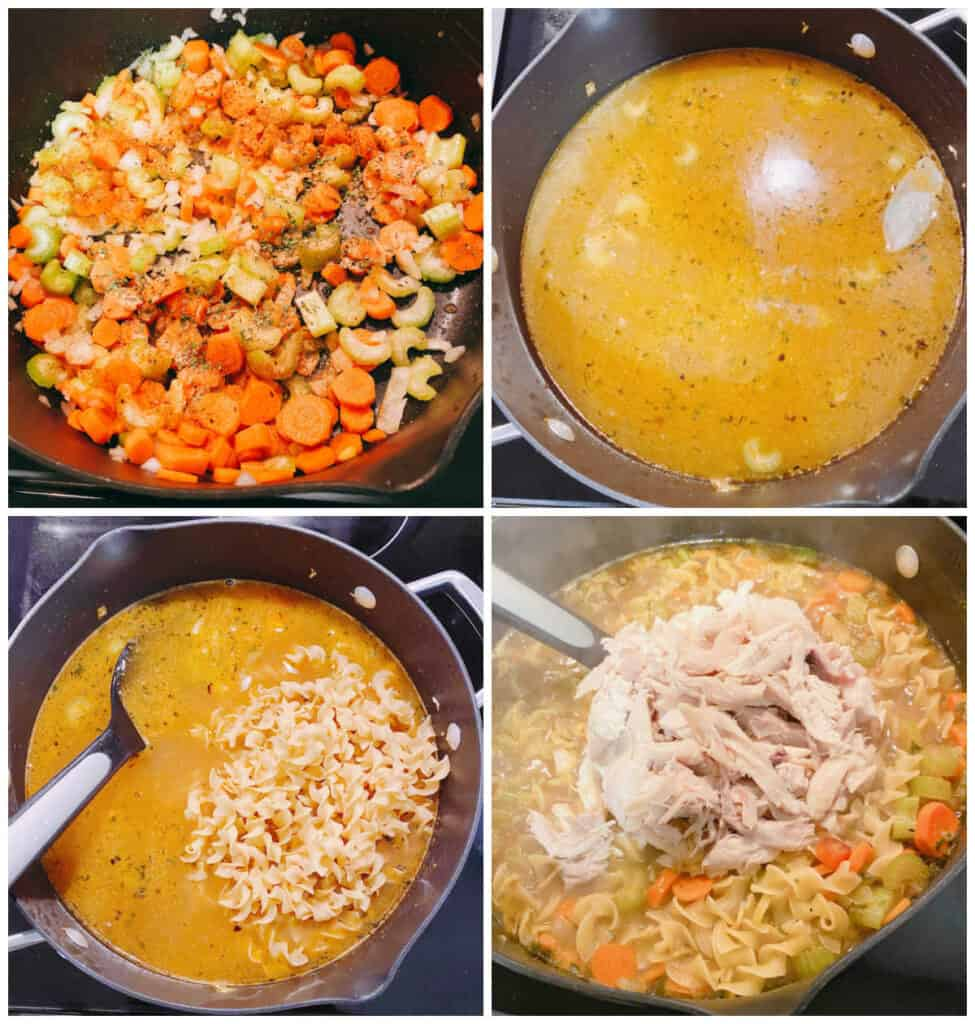 4 image collage of step by step instructions for this soup. Top left: sauteeing the veggies and seasoning. Top right: adding the chicken stock. Bottom left: stirring in the noodles. Bottom right: stirring in the shredded chicken.