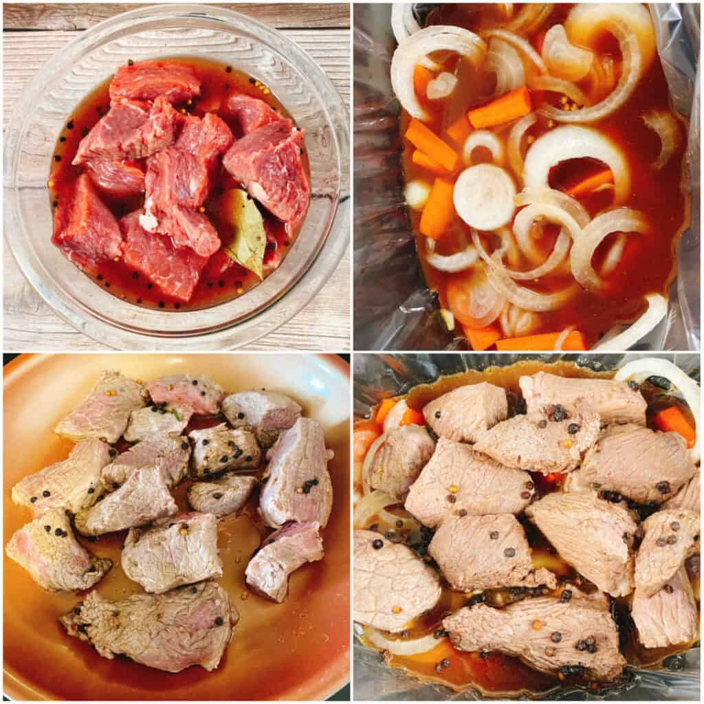 4 photo collage of the steps to make sour beef. Top left: marinating the meat in the vinegar and seasoning. Top right: adding the liquid from the marinade, carrots and onions to a slow cooker. Bottom left: pan searing the beef. Bottom right: adding the beef to the slow cooker.