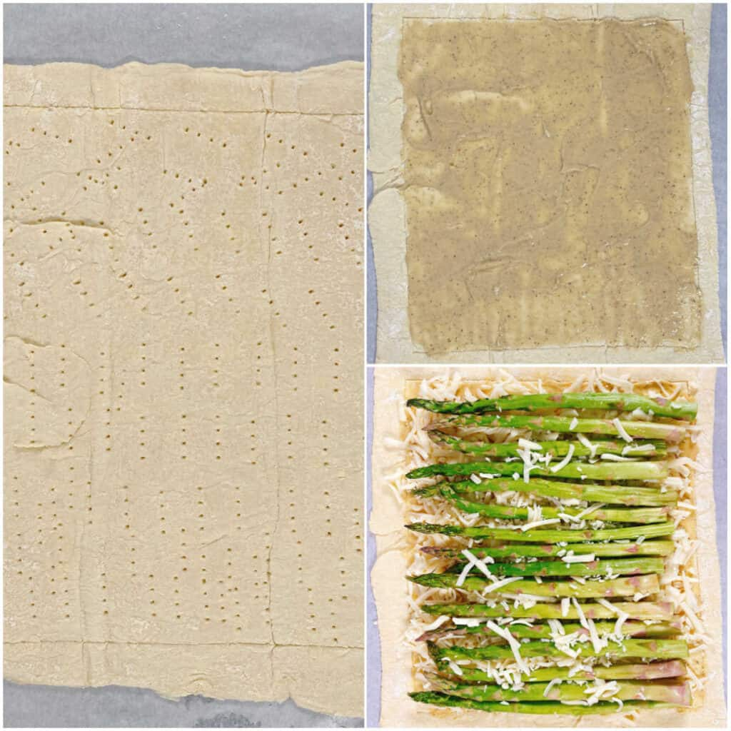 3 photo collage for the steps of making asparagus and gruyere tart. The left image is a rectangle, showing the puff pastry with the border scored and pricked with a fork to prevent the center from puffing up. Top right image is the sauce made of dijon mustard, honey and cream spread over the center of the puff pastry. The bottom right image is the cheese and asparagus laid in the center of the puff pastry prior to baking.