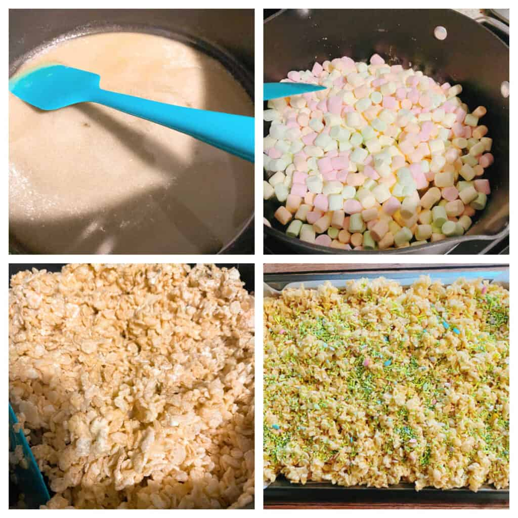 4 photo collage to make fruity easter rice krispies. Top left: melting the butter in a saucepan. Top right: adding the marshmallows. Bottom left: stirring in the cereal. Bottom right: pressing into a pan.