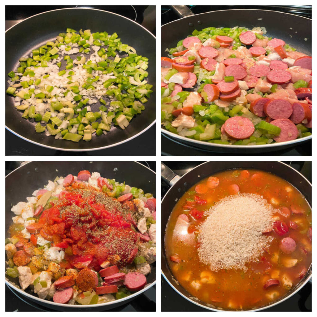 Four image collage of the steps to make jambalaya. Top left: sautéing green pepper, onions and celery in a large pot with olive oil. Top right: chicken and sausage are added to the pot. Bottom left: canned tomatoes, tomato sauce and seasonings are added. Bottom right: chicken broth, worcestershire sauce and rice are added to the pot.