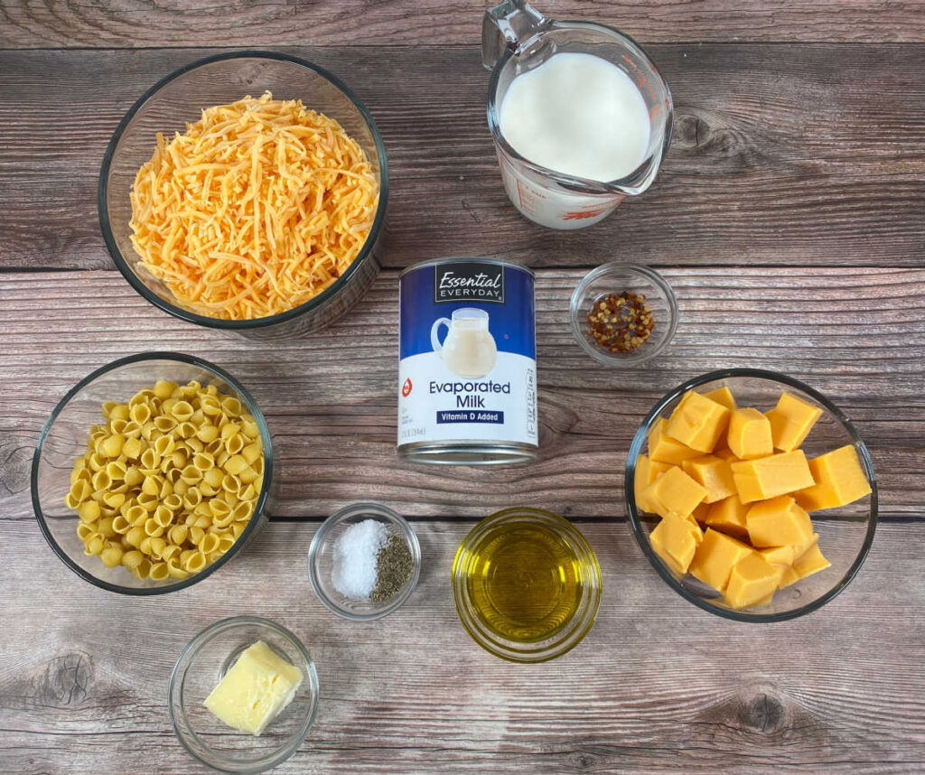 ingredients for this recipe sit on a wooden background