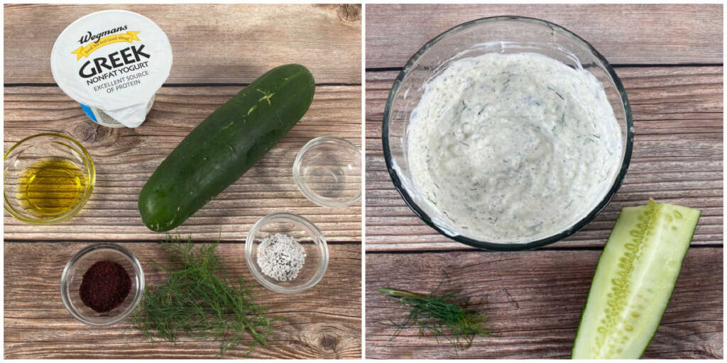 Side by side images for preparing the tzatziki sauce. Image 1: ingredients for sauce. Image 2: prepared sauce mixed in a bowl with a cucumber next to it.