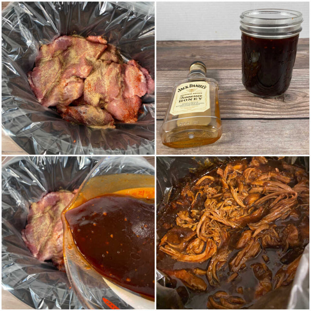 Collage of images showing the steps to make the pulled pork recipe in the slow cooker.
