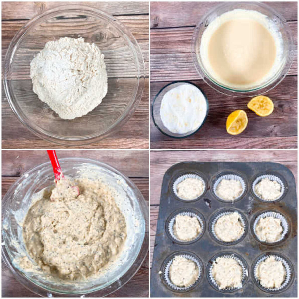 4 image collage of the steps to make the muffins.